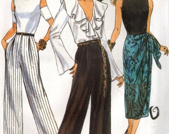 Vogue 8704 Straight Leg Pants & Sarong Skirt Sizes 6 - 8 - 10 ©1993 Very Easy Vogue