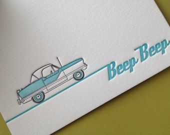 NEW - Nash Metropolitan Beep Beep Note Cards - LETTERPRESS - by Invited Ink