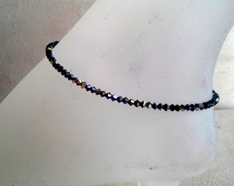 Handmade with Swarovski Elements Crystal Jet AB Anklet Ankle Braclet  CUSTOM Size For You