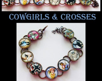 Cowgirls & Crosses, original art photo bracelet..gift boxed and ready to ship TODAY...horses, carousels, circus,carnival