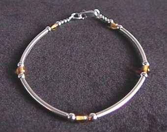 "Baltic Amber and Sterling Silver Tube Bracelet 6.5"" - 8"" Inch Length"