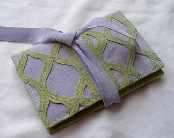 Lavender and Lime Suede Tie Card Wallet