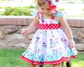 Vintage Market Pink Bicycle Dress Girls Pink Vintage Dress Polkadot Berry Dress with Bow
