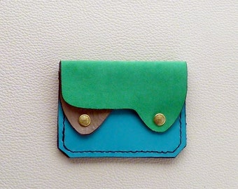 Small Leather Wallet, Coin Purse, Card Case,  Flat Leather Wallet