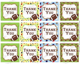 Printable Football Thank You Tags - Instant Download