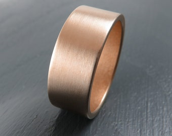 Classic 8MM Rose Gold Low Profile Wedding Band