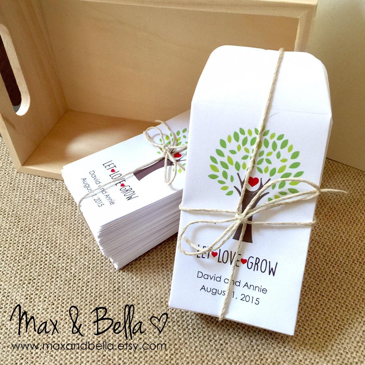 Custom Seed Packet Wedding Favors Let Love Grow Envelope Kraft Personalized Envelopes Momento
