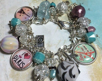 Paris Diva, World Traveler,  altered art charm bracelet,OOAK,  ladies jewelry, beaded bracelet, French, mixed media , art charms