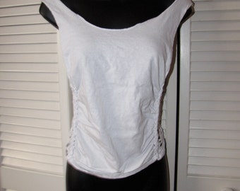 white backless shredded t shirt size Extra Small XS S