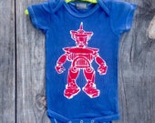 Batik robot organic cotton navy blue eco friendly hand drawn hand painted hand dyed one piece size 3 to 24 months