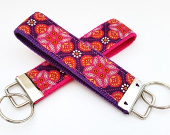 Wristlet Key Fob Key Chain in Thistle - Bold Modern Colors - Fabric Keychain on your choice of webbing