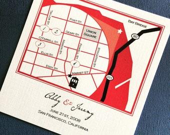 San Francisco California custom wedding map, digital file