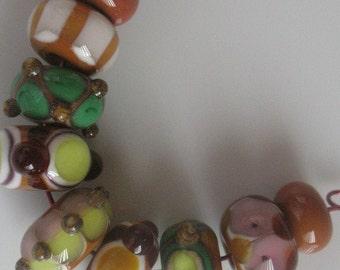 Handmade glass beads-lampwork beads-loose beads-set of nine lampwork beads-SRA-glass blowing-glass art