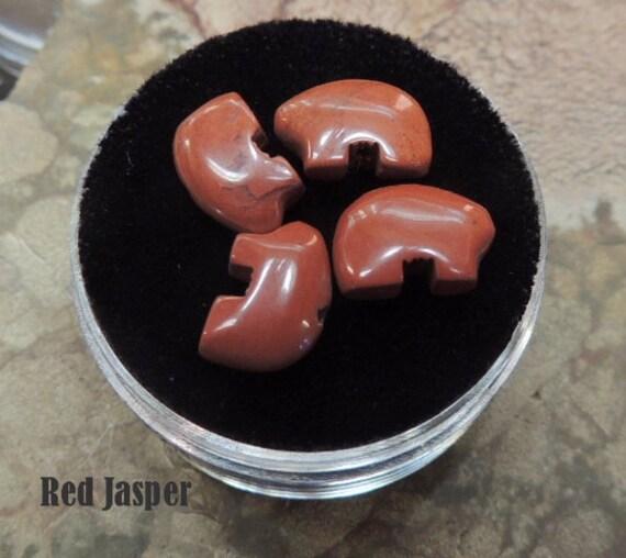 Red Jasper Tiny Zuni Bear Beads you get Four in a Gem Jar