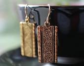 Gold Scroll Drop Earrings, Ancient Frieze Gold Earrings, 14kt Gold Earwires, Classic Art Deco Rectangle Earrings, Women's Gift, Gift Box