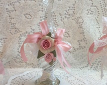 Glass Decorated Vintage AVON PErfume Bottle Shabby Chic Clay Roses Lace Ribbon svfteam ECS schteam sct