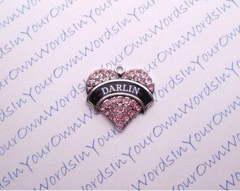 Personalized Any Terms of Endearment Charm Custom Crystal Antique Silver Heart Pendant