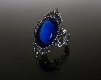 Victorian gothic ring - Sapphire blue ornate filigree steampunk ring - adjustable SINISTRA ring