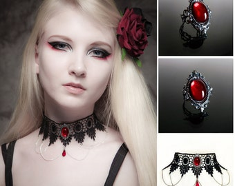 Ruby red gothic choker necklace and ring set - SINISTRA lace choker and matching Ruby red ornate filigree gothic ring