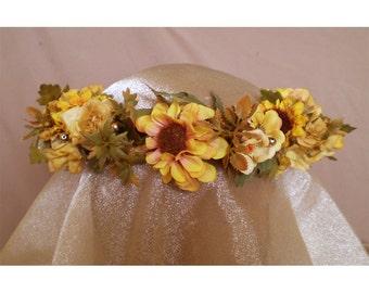 Sunflower floral head wreath bridal flower crown boho hair accessory renaissance faery costume fairy cosplay flowers harvest