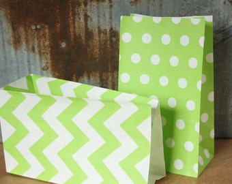 12 Lime Green Paper Bags -- 5X9 -- Standing Bags -- Party Favor Bags -- Goody Bags -- Gift Bags -- dots, chevron