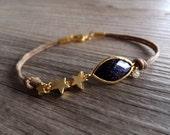 Starry Night Jewelry Bracelet - Blue Goldstone - Gold Star Charms