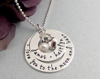 I Love You To The Moon And Back Necklace - Personalized Jewelry - Mothers Necklace - Layered Name Necklace - Love Necklace For Mom -
