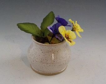 LAST CHANCE - Ceramic Ikebana Vase - Handmade Flower Arranger - Windowsill Size - Holiday Hostess Gift - Ready to Ship - Speckle White  v535