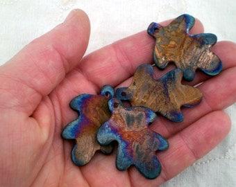 5 Leaf Beads, Raku Beads, Nature Beads, Ceramic Beads, Clay Beads, Woodland Beads (AAT)