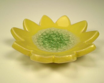 Yellow Flower Trinket Dish, Small Pottery Dish, Ceramic Ring Dish, Tea Bag Holder, Spoon Rest