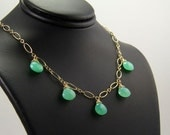 Dora - Minty Green Chrysoprase and Gold Filled Necklace