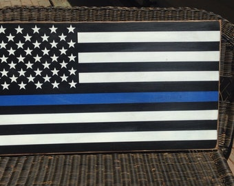 LRG size police thin blue line flag handpainted wood sign law enforcement Leo