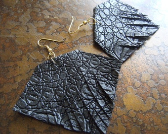 Square Leather Fringe earrings