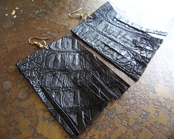 On the Fringe Rectangular Leather Fringe earrings