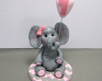 Baby Elephant polymer clay Birthday Baby Shower Cake Topper decoration Custom made to Order