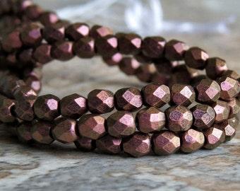 3mm Copper Rose Polychrome Czech Glass Bead Faceted Round : Full Strand Polychrome Copper Rose 3mm Round