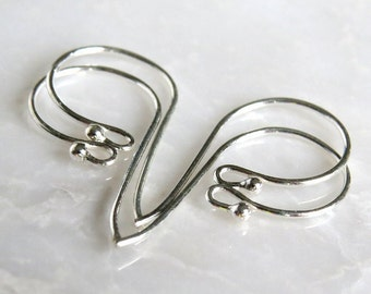 Bali Sterling Silver Earwire with Ball 24x12mm : 2, 5 or 10 Pair Silver French Ear Wires