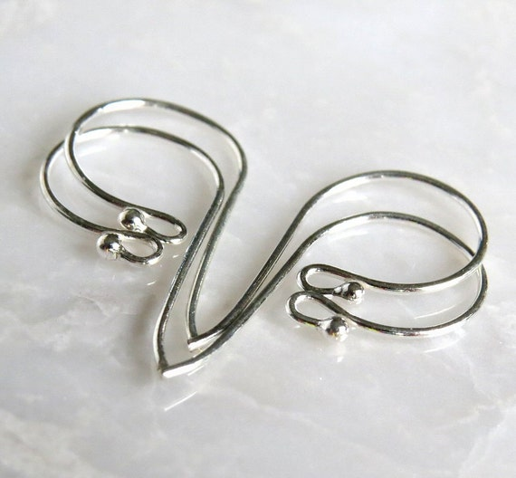 Bali Sterling Silver Earwire with Ball 24x12mm : 2 Pair Silver Ear Wires
