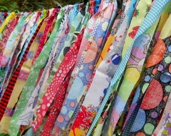 Birthday Photography Prop-Fabric Bunting-Rag Tie Garland-Nursery Decor-1st Birthday-High Chair Banner-Comic Birthday Banner-Circus Garland