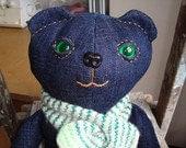 Green Eyed Denim Sitting Bear For Edrie