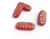 Brick Red Rectangle Tile Glass Beads Egyptian Hieroglyphics Cartouche