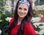 Wide Fabric Headbands for Women, Funky Blue Ikat Patterned