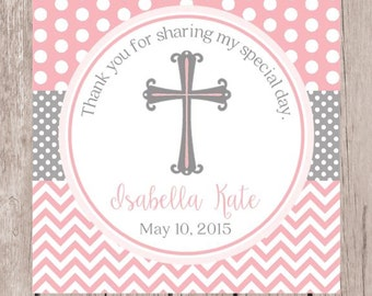 Pink and Gray Baptism Favor Tags / PRINTABLE Tags for Christening, Communion, Baptism, Baby Dedication and Confirmation/ Chevron & Polka Dot
