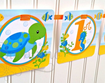 Under the Sea Happy Birthday Banner / Turtle, Fish, Crab, Dolphin, Jelly Fish and More / Personalized with Name and Age - 0023