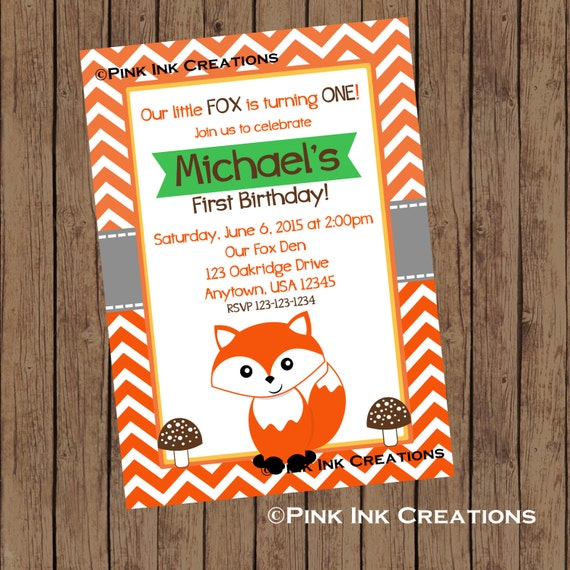 MR FOX Birthday Invitation / Fox Invitation / Woodland Fox ...