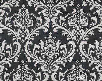 CHARCOAL DAMASK YARD Last one  Dark Grey and White damask osbourne Fabric By the Yard Per