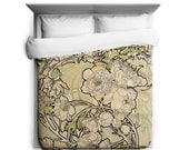 Peonies, Alphonse Mucha Duvet Cover - Made in USA