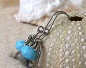 Hypoallergenic - Beaded Earrings - Blue Earrings - Titanium Earrings - Dangle Earrings - Pure Titanium Earrings - Baby Blue Earrings