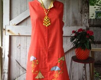1960s tent dress 60s orange dress  trapeze dress cover up size medium large Vintage summer smock