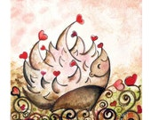 Hedgehog art, i'm in love ( Print )  hearts, whimsical, pink, children's room wall decor